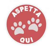 Bollo fondo rosso - D435 mm - ''ASPETTA QUI'' - per bambini - Cartelli Segnalatori