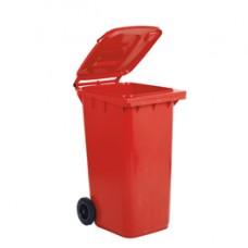 Bidone carrellato per raccolta differenziata - 240 L - rosso - MobilPlastic