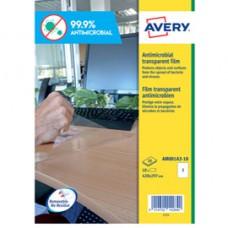Adesivo antimicrobico - poliestere trasparente - 1 etichetta per foglio - Avery -  conf. 10 fogli A3