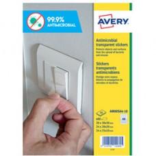 Adesivo antimicrobico - quadro - poliestere trasparente - 68 etichette per foglio - Avery -  conf. 10 fogli A4