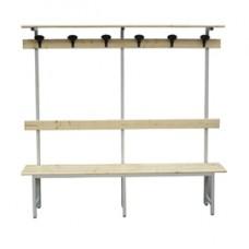 Panca in legno con alzata - a 6 posti - 200 x 40 x185 cm - Fasma