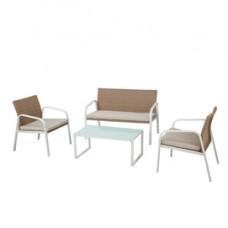 Salotto Madeira - bianco/beige - Garden Friend - set 4 elementi
