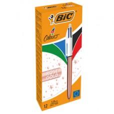 Penna a sfera a scatto 4 colori Rose - 1,0 mm - Bic  - scatola 12 pezzi