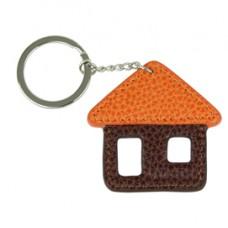 Portachiave Casa - vera pelle - marrone/arancio Laurige France