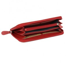 Portafoglio Frenchy donna - 19 x 10 cm - vera pelle - rosso - Laurige France