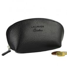Portamonete c/zip - 12 x 6,5 cm - vera pelle - nero - Laurige France