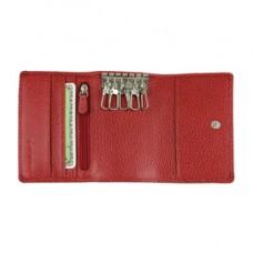 Portachiavi e carte - 11 x 7,5 cm - vera pelle - rosso - Laurige France