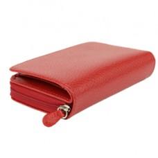 Portafogli c/zip - 13 x 10 cm - vera pelle - rosso - Laurige France
