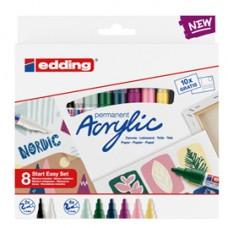 Marcatore acrilico Start Easy Set Nordic - colori assortiti - Edding - conf. 8 pezzi