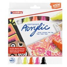 Marcatore acrilico 5000 Broad Neon - colori assortiti - Edding - conf. 5 pezzi