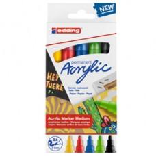 Marcatore acrilico 5100 Medium Basic - colori assortiti - Edding - conf. 5 pezzi