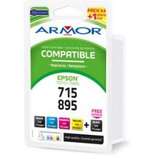 Armor - Cartuccia per Epson - C/M/Y/2K - T0711 x 2 T0712 T0713 T0714 - Conf. 5 cartucce