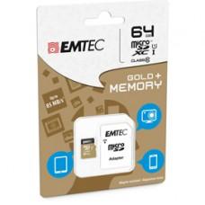 Emtec - Micro SDXC Class 10 Gold + con Adattatore - ECMSDM64GXC10GP - 64GB