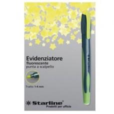 Evidenziatore a penna Starline - punta scalpello - tratto da 1,0-4,0mm - giallo - Starline