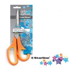 Forbici - 21,5 cm - lama in acciaio - impugnatura gomma morbida - arancione - Starline