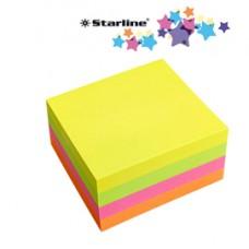 Biglietti adesivi Cubo - assortito neon - 75 x 75mm - 70gr - 320 fogli - Starline