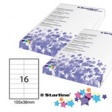 Etichetta adesiva - permanente - 105x36 mm - 16 etichette per foglio - bianco - Starline - conf. 100 fogli A4