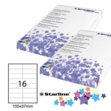 Etichetta adesiva - permanente - 105x37 mm - 16 etichette per foglio - bianco - Starline - conf. 100 fogli A4