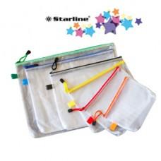 Busta a rete con cerniera gialla - PVC - 20x25 cm - trasparente - Starline